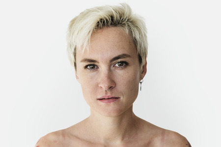 Woman bare chest topless studio portrait