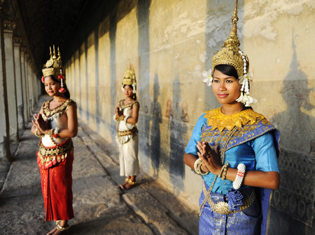 Cambodian traditional dancers Stock Photo