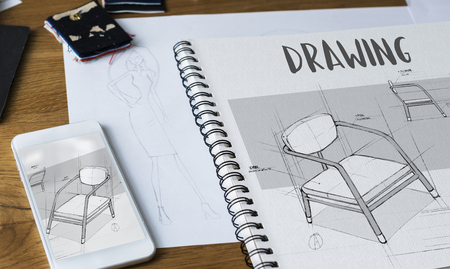 Tools and materials used for fashion designing 스톡 콘텐츠