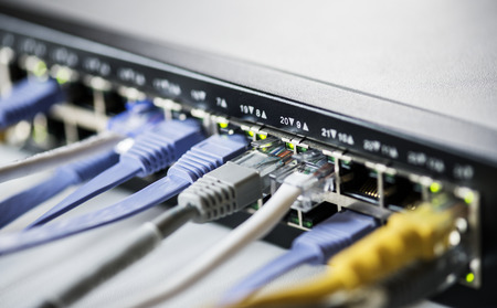 Cables connected to a hub