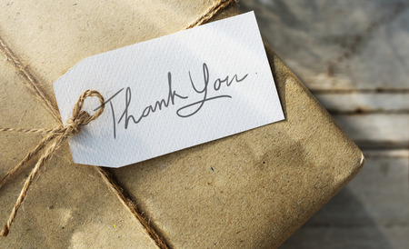 Gift box with thank you card Archivio Fotografico