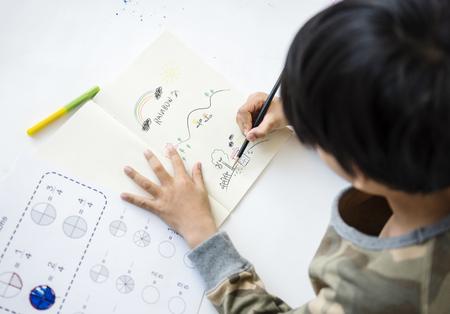 Schoolboy Drawing Art Education Maths Classroom