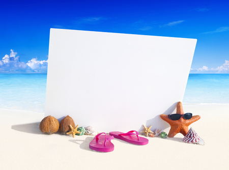 Paradise beach display with copy space. Stock Photo