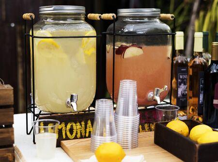 Organic fresh agricultural lemonade stand at farmer market