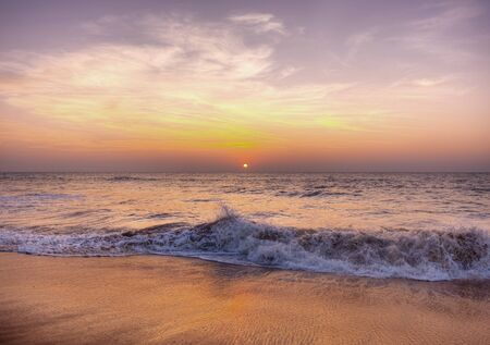 사모아의 해변에서의 일몰 스톡 콘텐츠