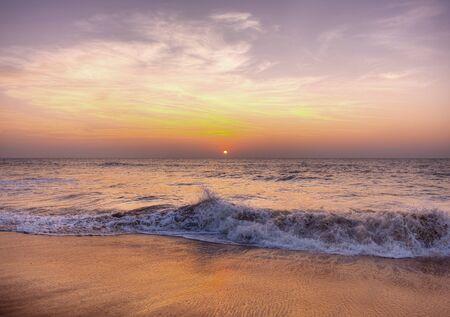Sunset at a beach in Samoa Stock Photo