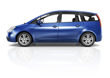 Illustration of a blue car Reklamní fotografie - 90705787