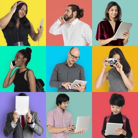 Aantal portretten met digitale media concepten Stockfoto