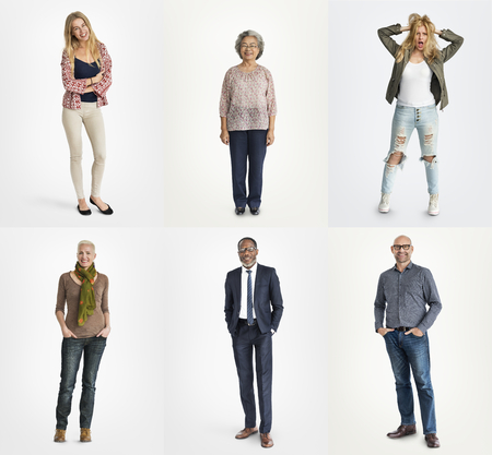 A studio portrait collage of diverse people