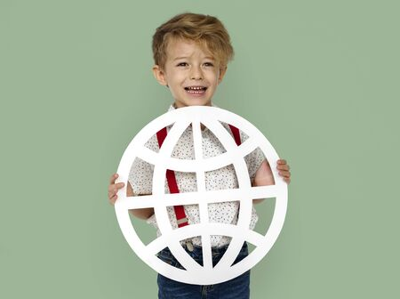 Little Boy Smiling Happiness Holding Globe Symbol Connection Stock Photo