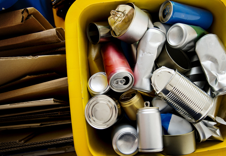 Recycle canned and box environment conservation 스톡 콘텐츠