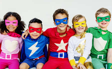 Superheroes Kids Friends Playing Togetherness Concept Stock fotó
