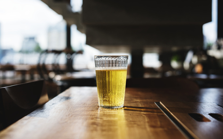 A glass of cold beer