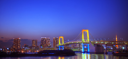 Panorama of the rainbow bridge in Tokyo. Stock Photo