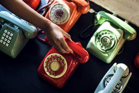 ヴィンテージカラフルな電話撮影 写真素材