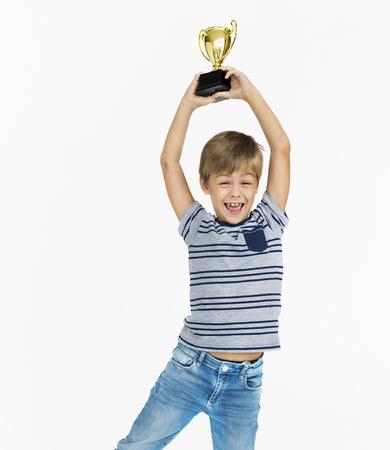 Boy Won Award Reward Cup Prize Concept