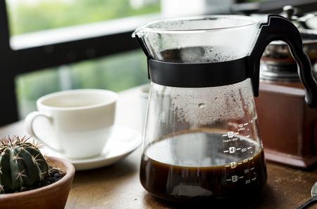 Closeup of coffee jar by the window