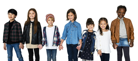 Group of Kids Holding Hands Face Expression Happiness Smiling on White Blackground