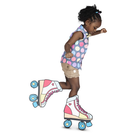 Little Girl Skating Papercraft Cute Banque d'images