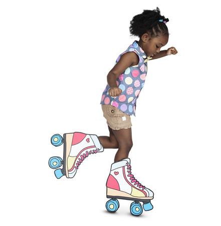 Little Girl Skating Papercraft Cute Standard-Bild