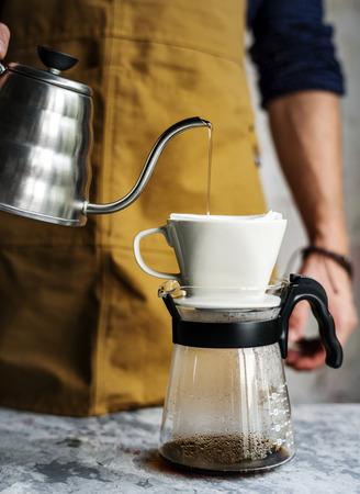 Barista making drip coffee Stock Photo