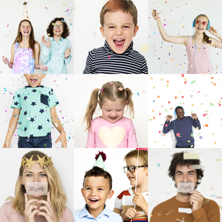 Set of portraits with celebration and happiness concepts