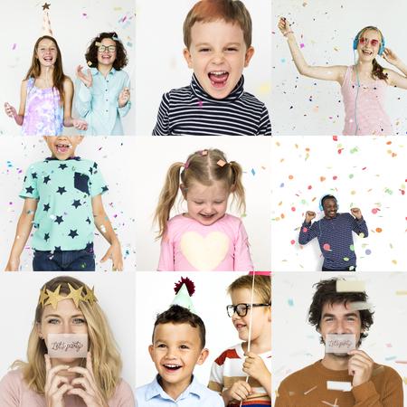 Set portretten met concepten voor viering en geluk Stockfoto