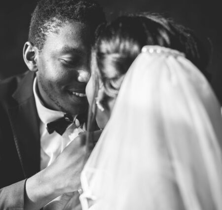 Newlywed African Descent Bride Groom Wedding Celebration