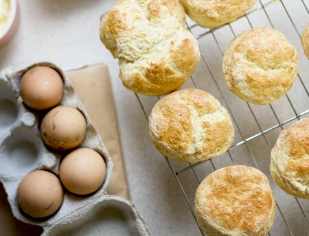 Baked Scone Pastry Eggs Strawberry Concept Imagens