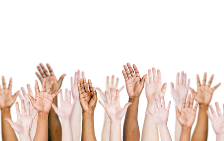 Group of multi-ethnic peoples arms outstretched in a white background.