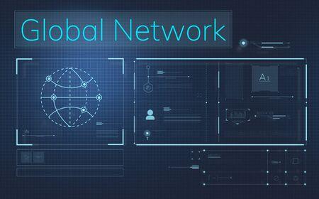 Global network illustration Stock Photo