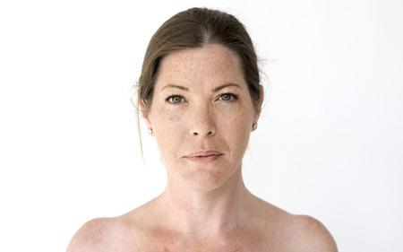 Portrait of a woman with freckles Foto de archivo
