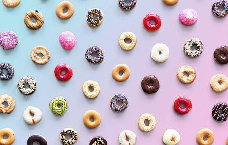 Variedades de sabor a rosquilla tomadas en vista aérea Foto de archivo - 90685518