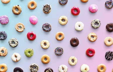 Varities of donut flavor shot in aerial view Banco de Imagens