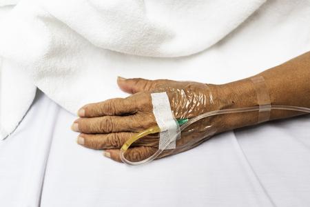 IV tube on patient hand Archivio Fotografico