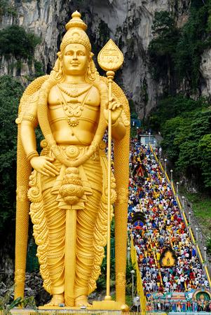 Batu Caves during a Hindu Thaipusam Festival, Sri Subramaniyar Swami Temple, Batu Caves, Selangor, Malaysia.
