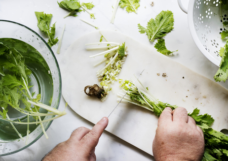 Cutting fresh vegetable with knife 版權商用圖片