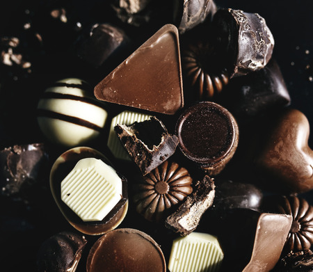 Closeup of variety chocolates collection Reklamní fotografie - 90757715