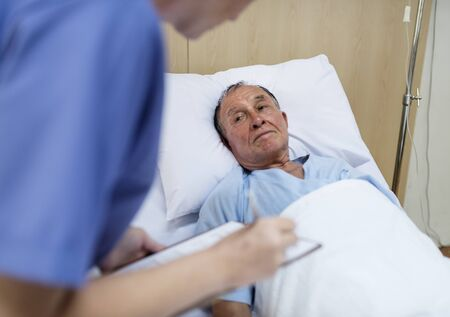 A sick elderly is staying at the hospital Banco de Imagens - 90757766