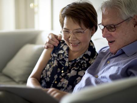 Happiness elderly couple Stock Photo