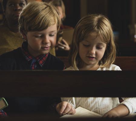 Children inside the church Stock Photo