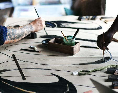 Artists working on a new design