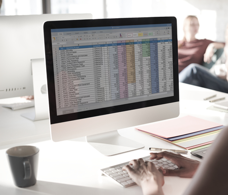 Computer screen is showing business data assessment