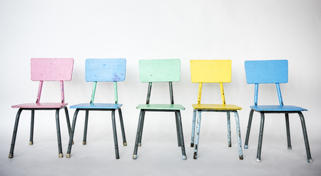 Colorful chair is on a row. Stock Photo