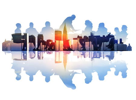 Abstract Image of Business Meeting in a Cityscape
