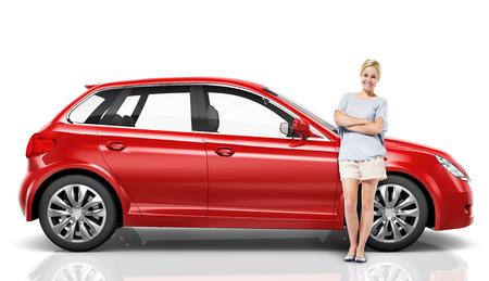 Ilustración de un auto rojo con una mujer Foto de archivo - 90763178