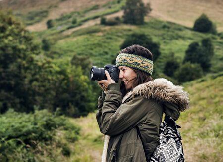 Concepto de ambiente de naturaleza de cámara de fotografía de mujer Foto de archivo