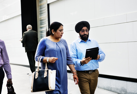Indian couple walking on the street
