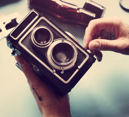 빈티지 복고풍 필름 카메라 스톡 콘텐츠