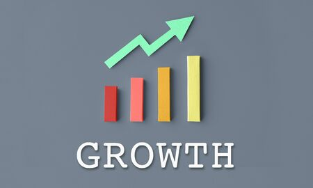 Growth with a graph Stock Photo